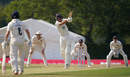 Joe Weatherley climbs into a pull, Middlesex v Hampshire, Bob Willis Trophy, 2nd day, Radlett, August 9, 2020