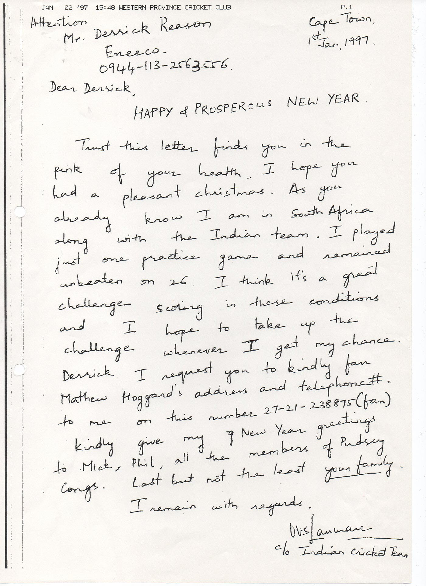 Greetings from down south: Laxman's fax to Derrick Reason in 1997