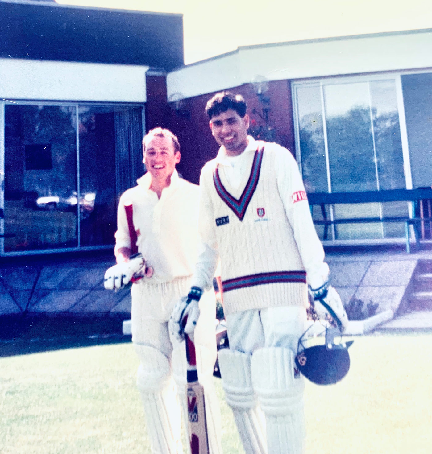 Colin Chapman and Laxman walk out to open for Pudsey Congs in 1996