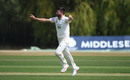 Ian Holland celebrates a wicket, Middlesex v Hampshire, Bob Willis Trophy, 3rd day, Radlett, August 10, 2020