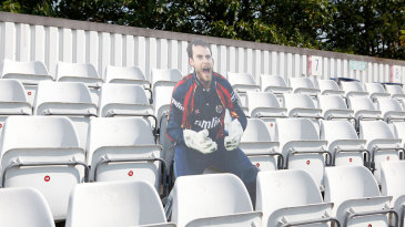 A cardboard cut-out of James Foster watches proceedings at Chelmsford