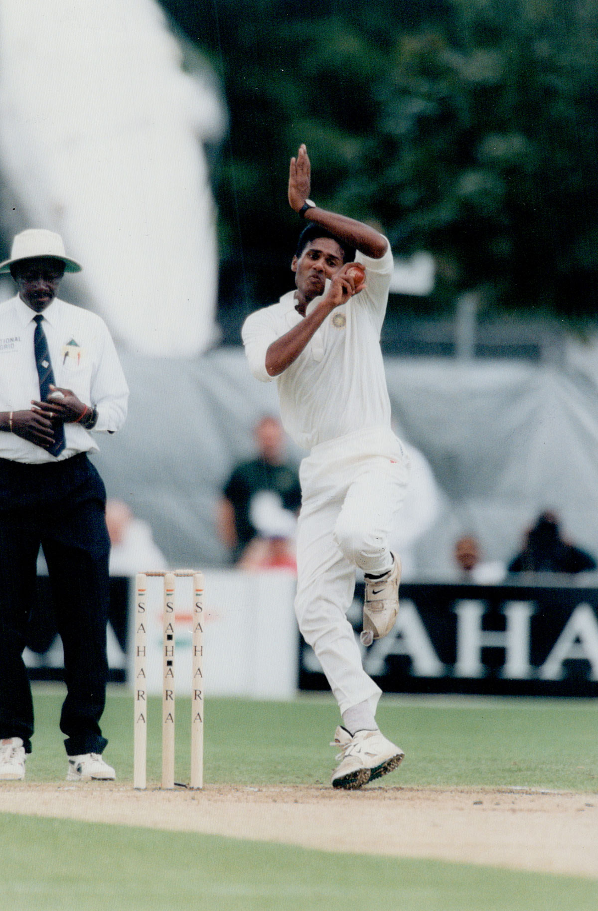 Full length, full tilt: Kuruvilla, all six feet five inches of him, in action in the Toronto Cup in 1997