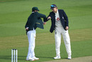 Azhar Ali and Joe Root bump elbows at the toss, England v Pakistan, Ageas Bowl, 2nd Test, 1st day, August 13, 2020