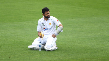 Azhar Ali mulls the situation at the drinks break