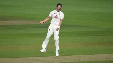 James Anderson celebrates the wicket of Azhar Ali
