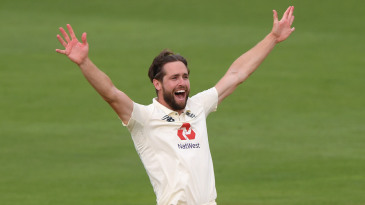 Chris Woakes appeals for the wicket of Fawad Alam