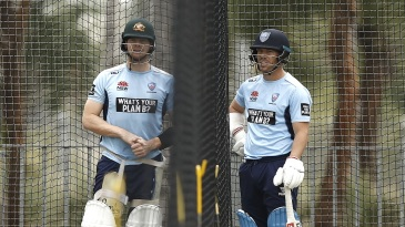 Steven Smith and David Warner at the nets