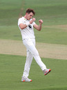 Fred Klaassen punches the air, Kent v Middlesex, Bob Willis Trophy, Canterbury, August 16, 2020