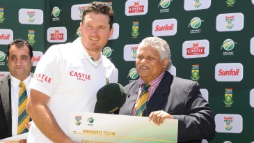 Beresford Williams with Graeme Smith after the Cape Town Test against Australia in November 2011