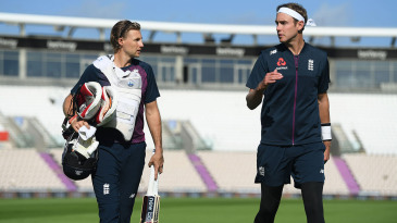 Joe Root and Stuart Broad head to net practice