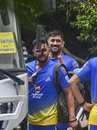 MS Dhoni and Suresh Raina prepare to board the bus, Chennai, August 20, 2020