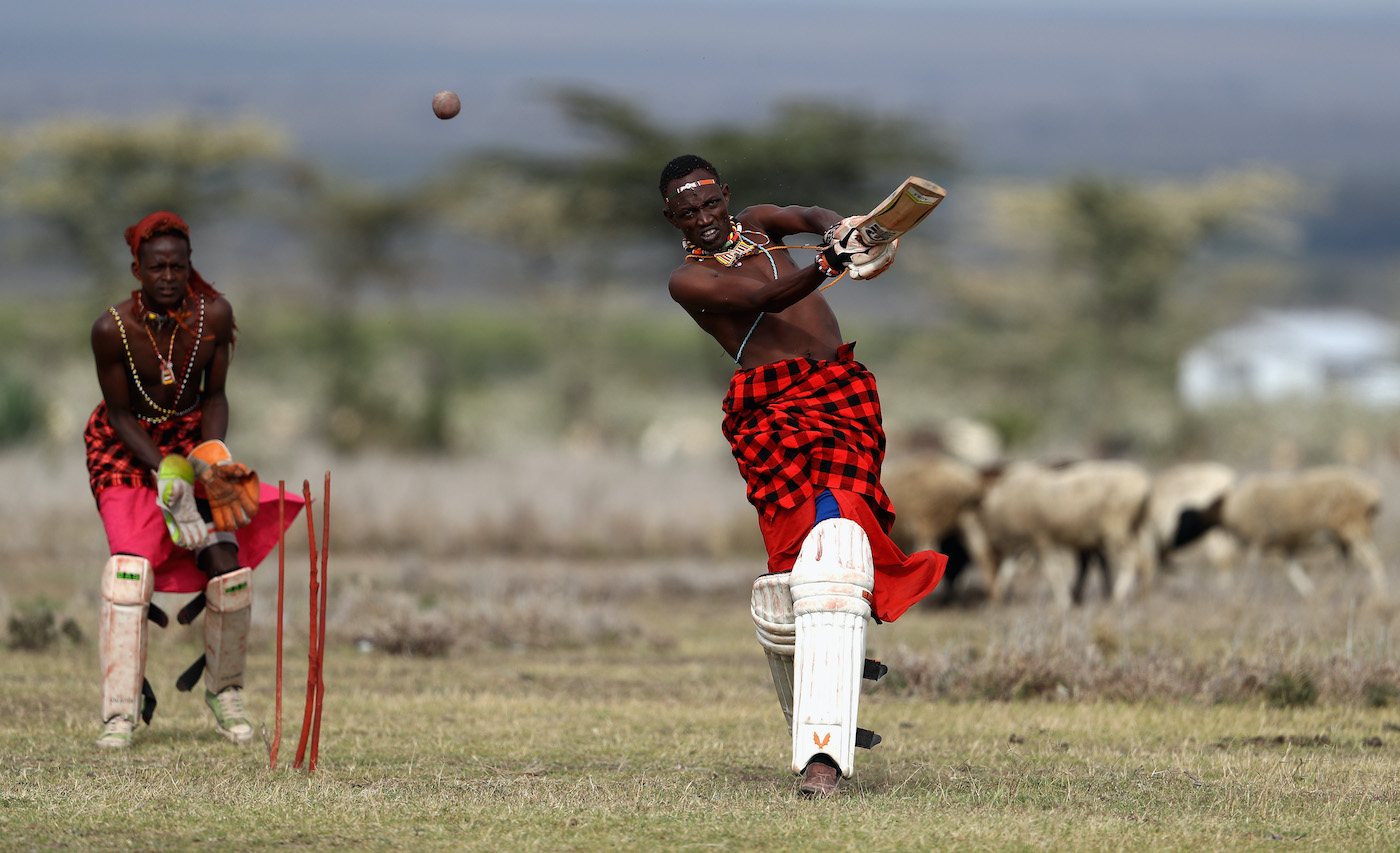 Iitemulani Mamai of the Maasai Cricket Warriors bats during a practice session in Laikipia, Kenya, in 2017