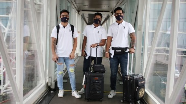 Rinku Singh, Kuldeep Yadav and Nitish Rana on their way to Abu Dhabi