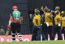 Roston Chase is congratulated after dismissing Joshua Da Silva, St Lucia Zouks v St Kitts and Nevis Patriots, CPL 2020, Brian Lara Stadium, August 22, 2020