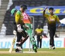 Sandeep Lamichhane flattens Chris Green's leg stump, Guyana Amazon Warriors v Jamaica Tallawahs, CPL 2020, Brian Lara Stadium, August 22, 2020