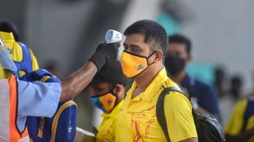 MS Dhoni undergoes thermal screening at Chennai airport