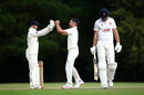 Ian Holland celebrates with wicket keeper Lewis McManus after taking the wicket of Paul Walter, Bob Willis Trophy, Hampshire v Essex, Arundel, August 23, 2020