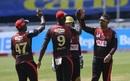 Sunil Narine celebrates after dismissing Shai Hope for 36, Trinbago Knight Riders v Barbados Tridents, CPL 2020, Trinidad, August 23, 2020