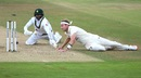 A bit of a tangle as Stuart Broad runs down in his follow through to try to run Azhar Ali out, England v Pakistan, 3rd Test, Southampton, 3rd day, August 23, 2020