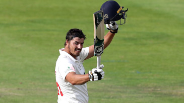 Marchant de Lange celebrates his maiden first-class hundred