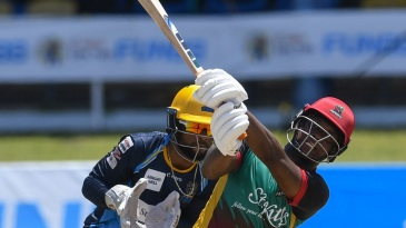 Evin Lewis sends one for six en route to his match-winning 89