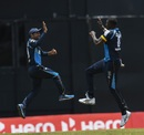 Rashid Khan and Jason Holder celebrate a wicket, St Kitts & Nevis Patriots v Barbados Tridents, CPL 2020, Port of Spain, August 25, 2020