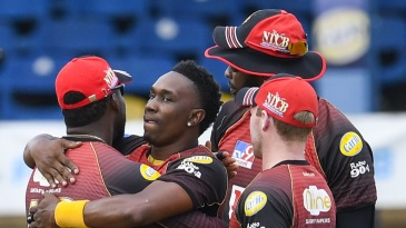 The match may have been behind closed doors, but Dwayne Bravo had family and friends around him to celebrate his 500th wicket