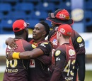 The match may have been behind closed doors, but Dwayne Bravo had family and friends around him to celebrate his 500th wicket, Trinbago Knight Riders v St Lucia Zouks, CPL, August 26, 2020