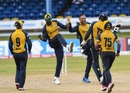 Mohammad Nabi celebrates a wicket with his team-mates, St Kitts and Nevis Patriots v St Lucia Zouks, Port-of-Spain, August 27, 2020