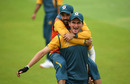 Mohammad Rizwan gets a piggyback from Shaheen Shah Afridi, Old Trafford, August 27, 2020