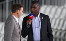 Michael Holding and Michael Atherton on commentary duty, day one, England v West Indies, second Test, Old Trafford, Manchester, July 16, 2020