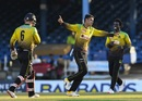 Mujeeb Ur Rahman celebrates a wicket, Jamaica Tallawahs v Barbados Tridents, CPL 2020, Port of Spain, August 26, 2020