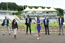 Isa Guha, front left, took over as the BBC's lead cricket presenter this summer, Ageas Bowl