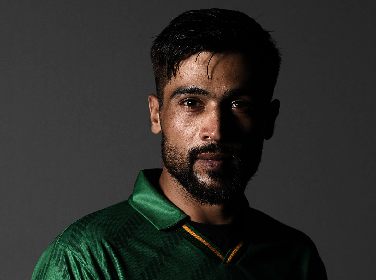 Mohammad Amir poses for a player portrait