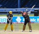Lendl Simmons launches one down the ground, Trinbago Knight Riders, Barbados Tridents, Queen's Park Oval, CPL 2020, August 29, 2020