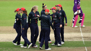 Thunder celebrate after Sophie Ecclestone sealed their victory