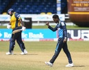 Joshua Bishop celebrates after dismissing Rahkeem Cornwall in the first over, Barbados Tridents v St Lucia Zouks, CPL 2020, Port of Spain, August 30, 2020