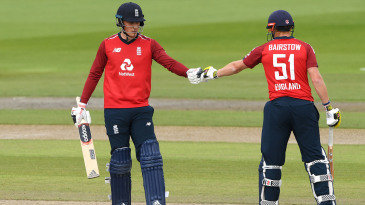 Tom Banton and Jonny Bairstow punch gloves