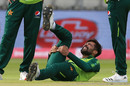 Mohammad Amir went off with a hamstring injury, England v Pakistan, 2nd T20I, Old Trafford, August 30, 2020