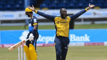 Kesrick Williams appeals successfully for the wicket of Shai Hope