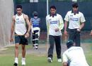 Umar Gul, Bazid Khan and Sohail Ranvir at a training session ahead of the game, Bangladesh v Pakistan, Kitply Cup, June 7, 2008