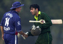 Andrew Strauss shakes hands with Bazid Khan, Pakistan A v England XI, Tour match, Lahore, December 7, 2005