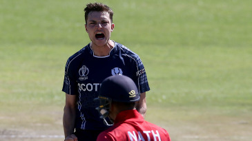 Stuart Whittingham celebrates a wicket against Nepal