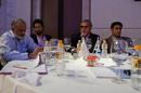 The Royal Challengers Bangalore table at the IPL auction. From left: Brijesh Patel, Siddharth Mallya, Vijay Mallya, Anil Kumble, Mumbai, January 19, 2010