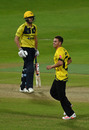 Ryan Higgins celebrates a wicket, Birmingham Bears v Gloucestershire, Vitality Blast, Edgbaston, September 2, 2020