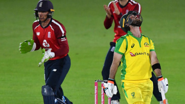 Glenn Maxwell reacts to his dismissal