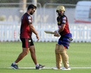 Abhishek Nayar guides Rahul Tripathi at the KKR nets, Abu Dhabi, September 4, 2020