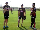Kyle Mills, David Hussey and Abhishek Nayar attend a Knight Riders training session, Abu Dhabi, September 4, 2020