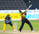 Andre Russell heaves the ball away, Jamaica Tallawahs v Barbados Tridents, CPL 2020, Trinidad, September 5, 2020