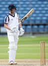 Harry Brook raises his bat on reaching fifty, Yorkshire v Leicestershire, Bob Willis Trophy, Headingley, September 8, 2020